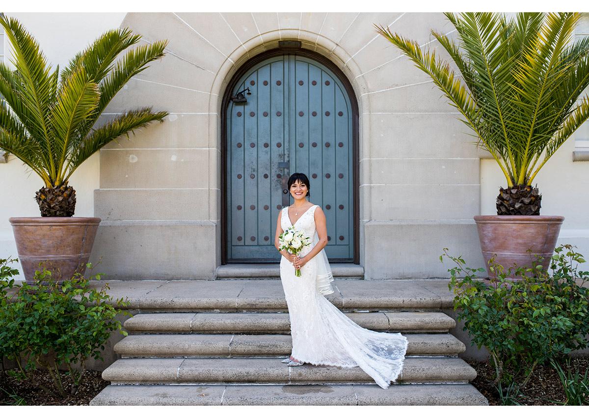 Portrait of Bride on steps at San Francisco Film Centre