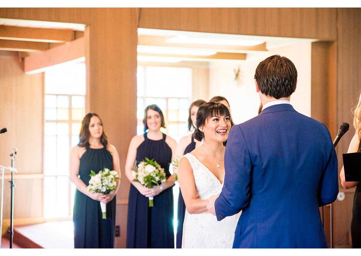 Bride smiling at Groom during presidio wedding ceremony