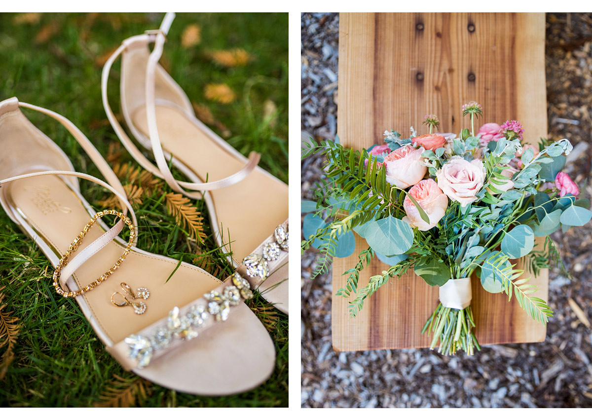 Detail photo of Bride's shoes and bouquet in Woodside, CA