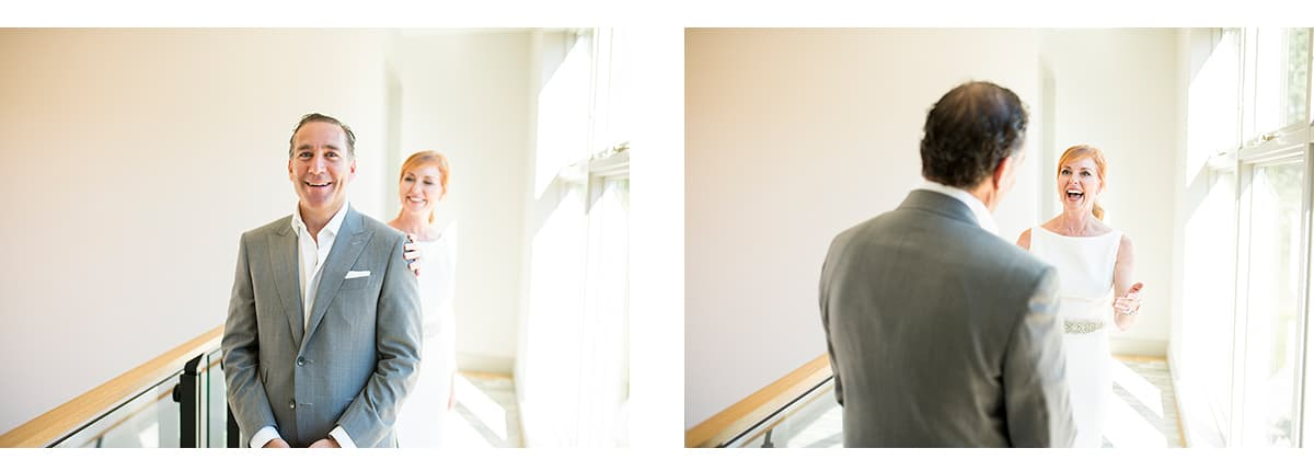 First look between bride and groom at Sonoma house