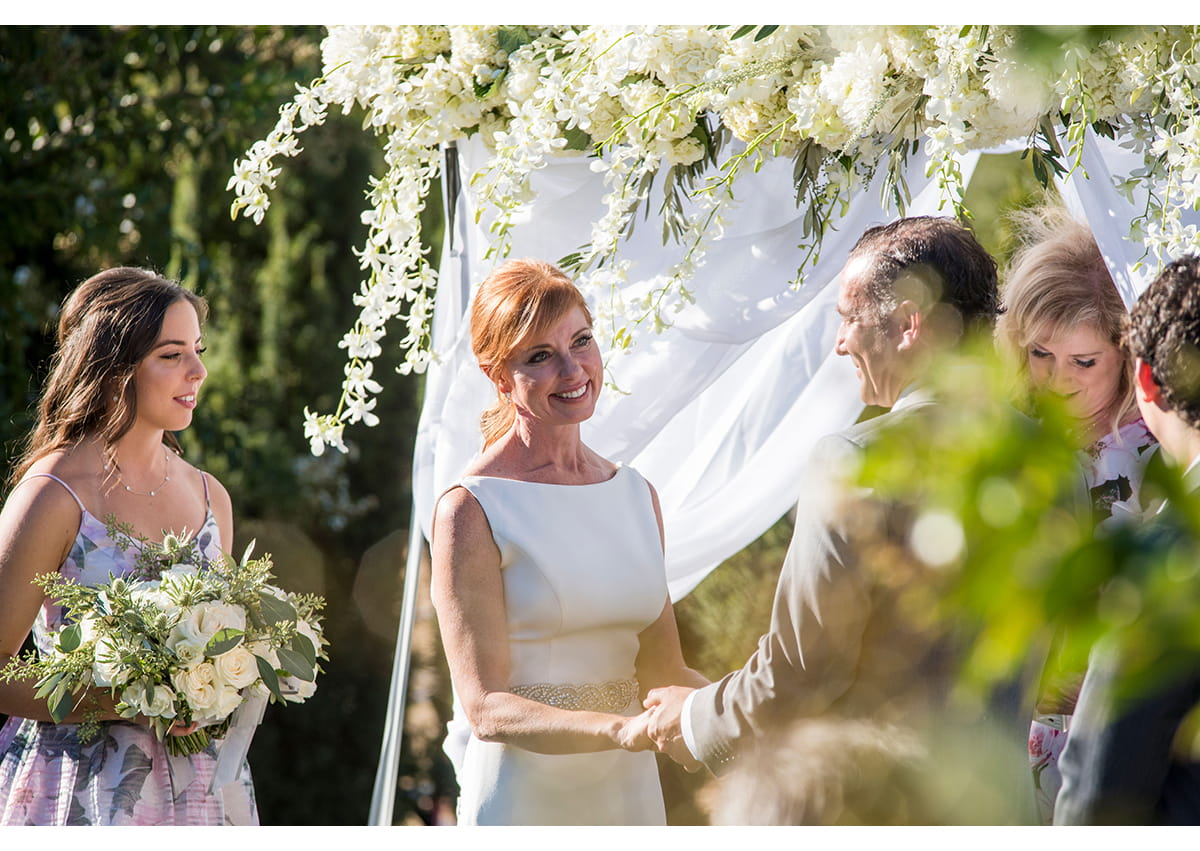 Bride smiling during Sonoma wedding ceremony