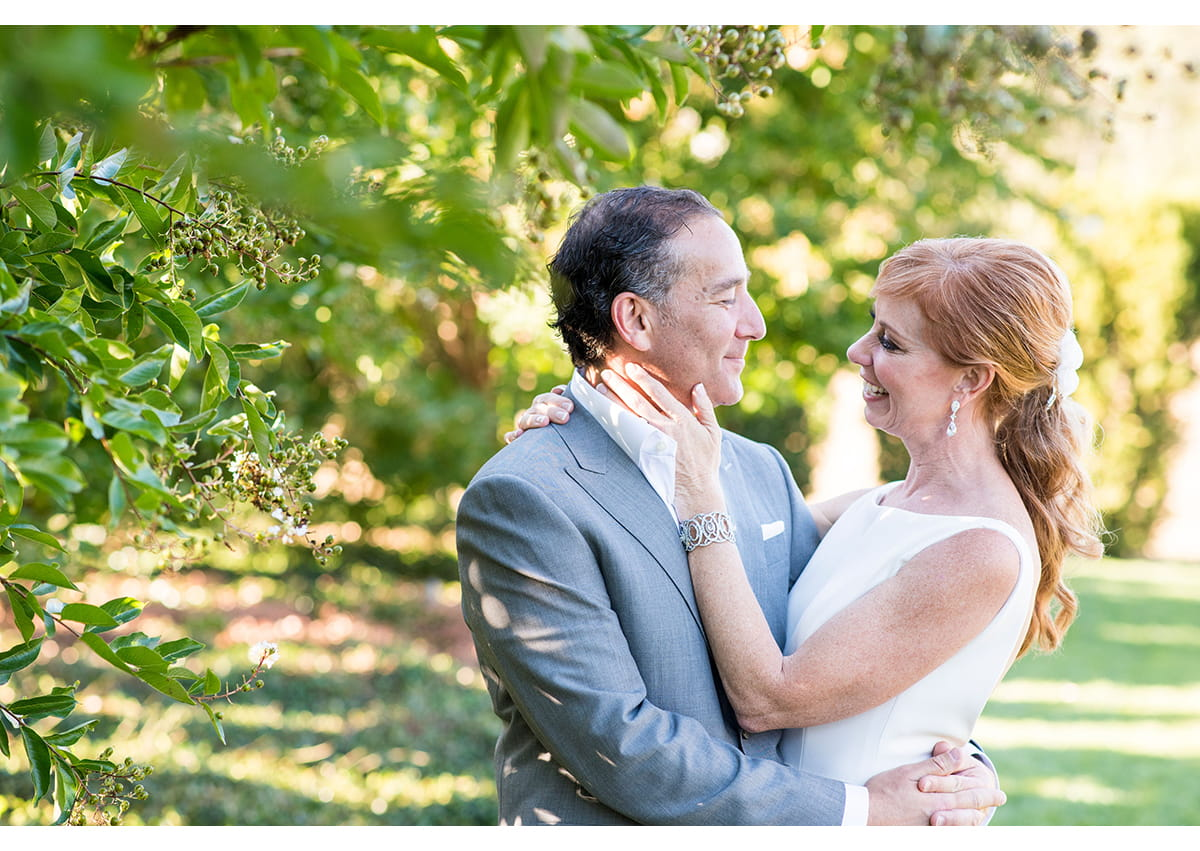 Candid portrait of bride and groom in sonoma