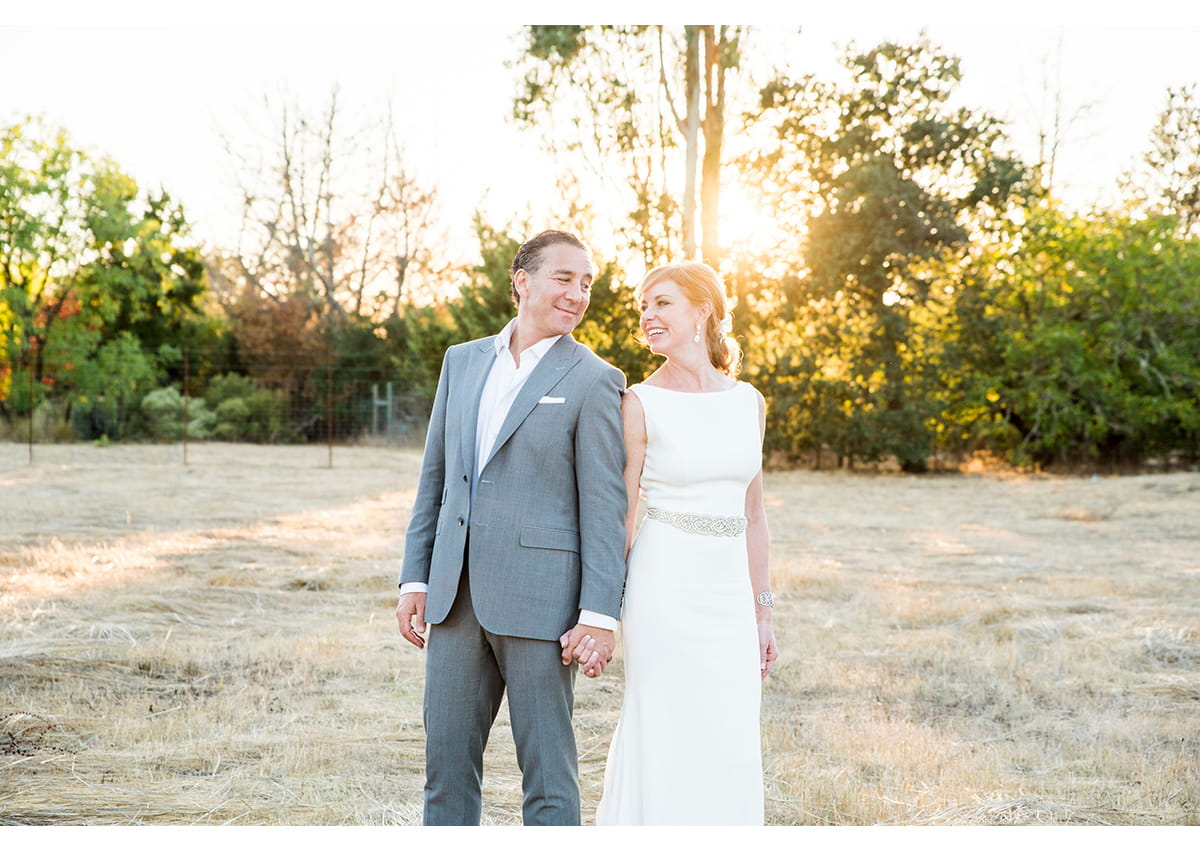 Bride and Groom in Sonoma field