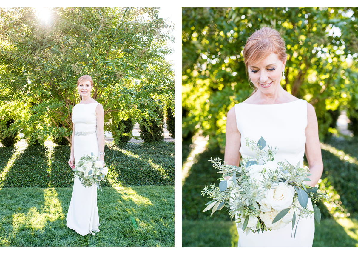 Side by side portraits of bride in wedding dress holding bouquet