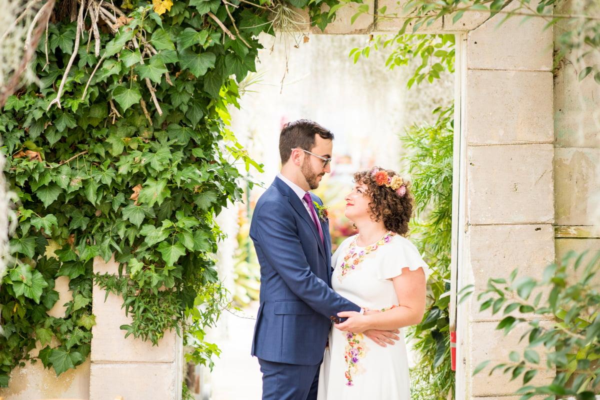 Bride and Groom inside Shelldance Orchid Gardens