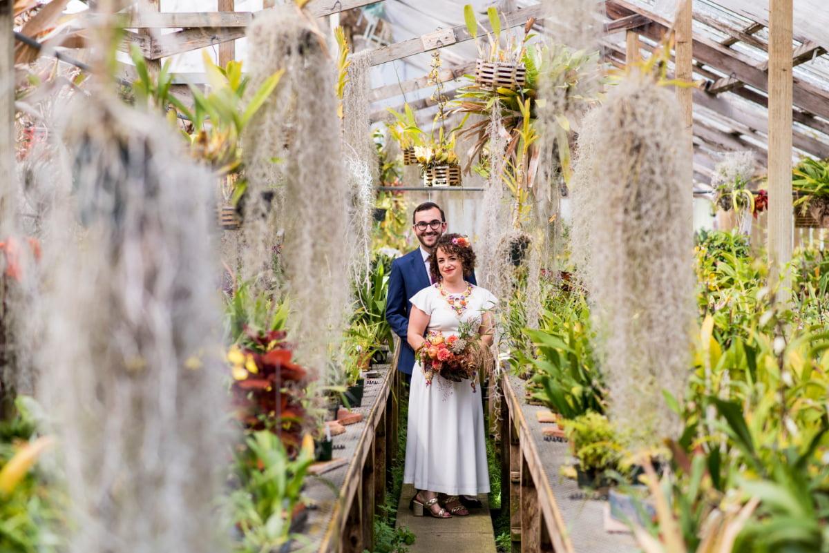 Couple at greenhouse wedding at Shelldance