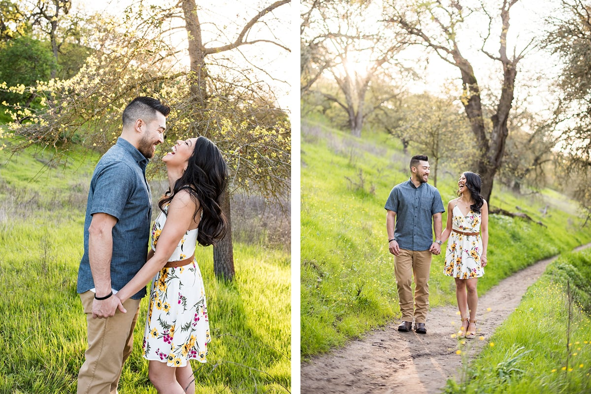 Side by side photos of happy couple on trail
