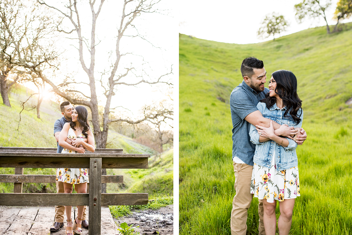 Side by side photos of engaged couple on wooden bridge