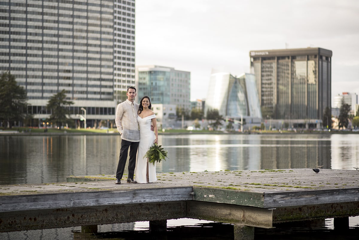 Bride and Groom at Lake Merritt