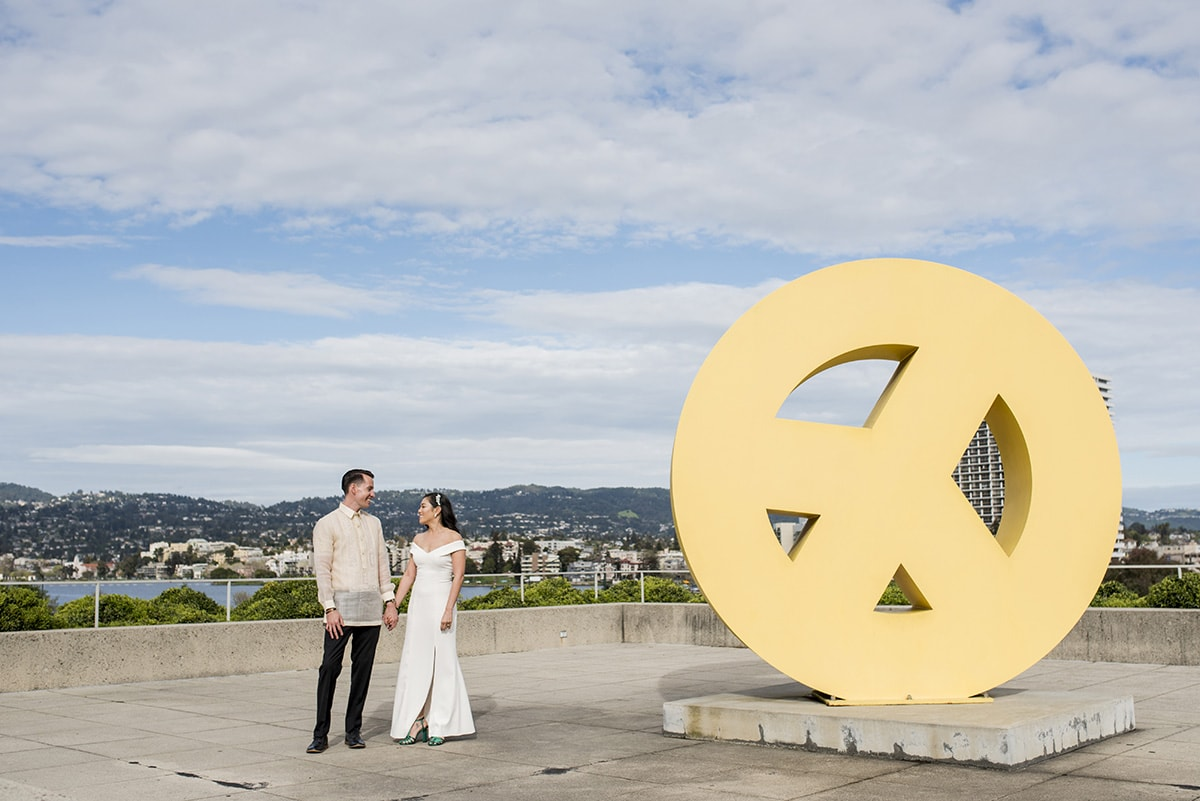 Bride and Groom at the Peace Terrace at Oakland Museum
