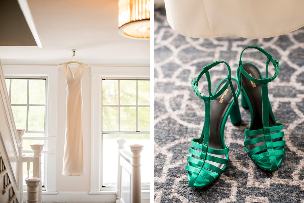 Detail of wedding dress and shoes at Claremont Hotel