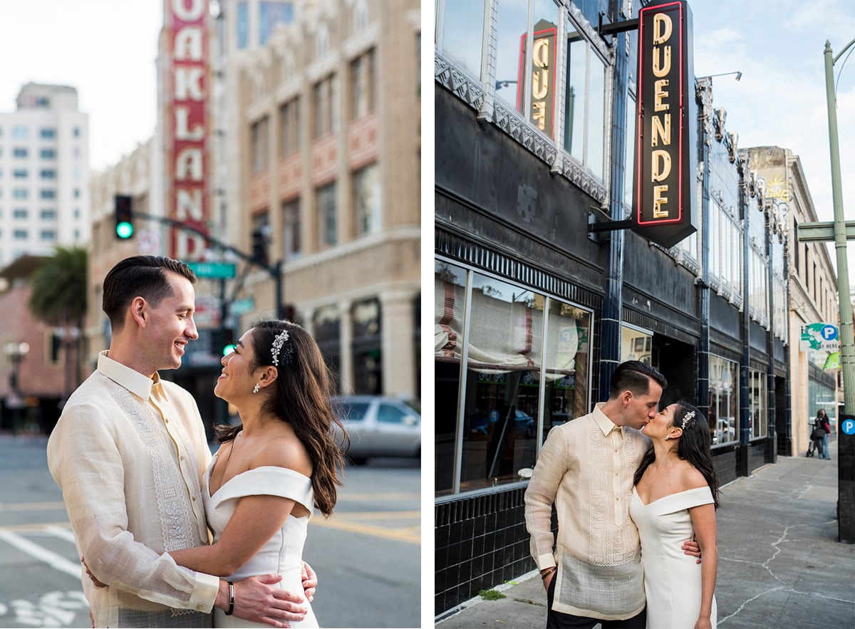 Couple in front of Fox Theater and Duende in Uptown