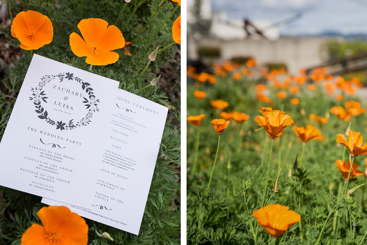 California Poppies with wedding invitations