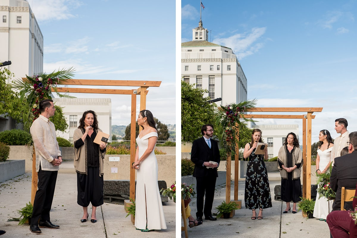 Side by side photos of wedding ceremony at Oakland Museum