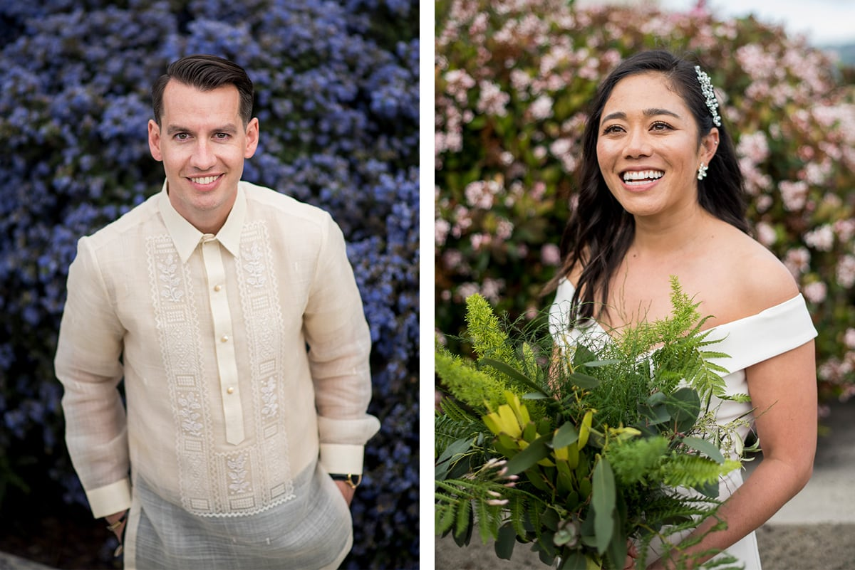 Side by side portraits of bride and groom in front of flowers