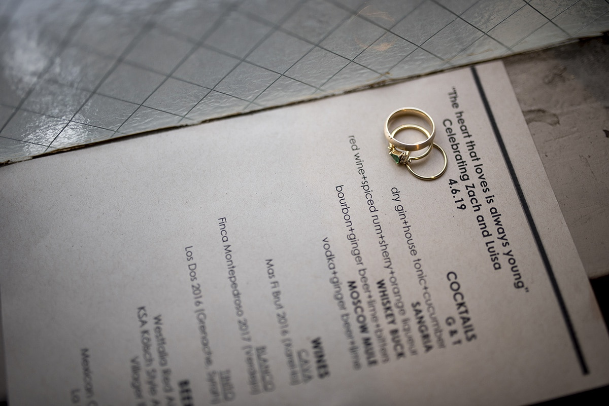 Wedding rings on Duende menu
