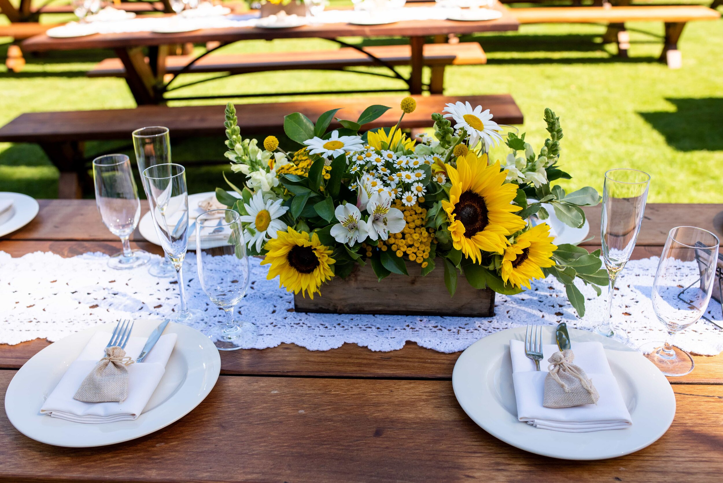 Sunflower center piece of wedding table