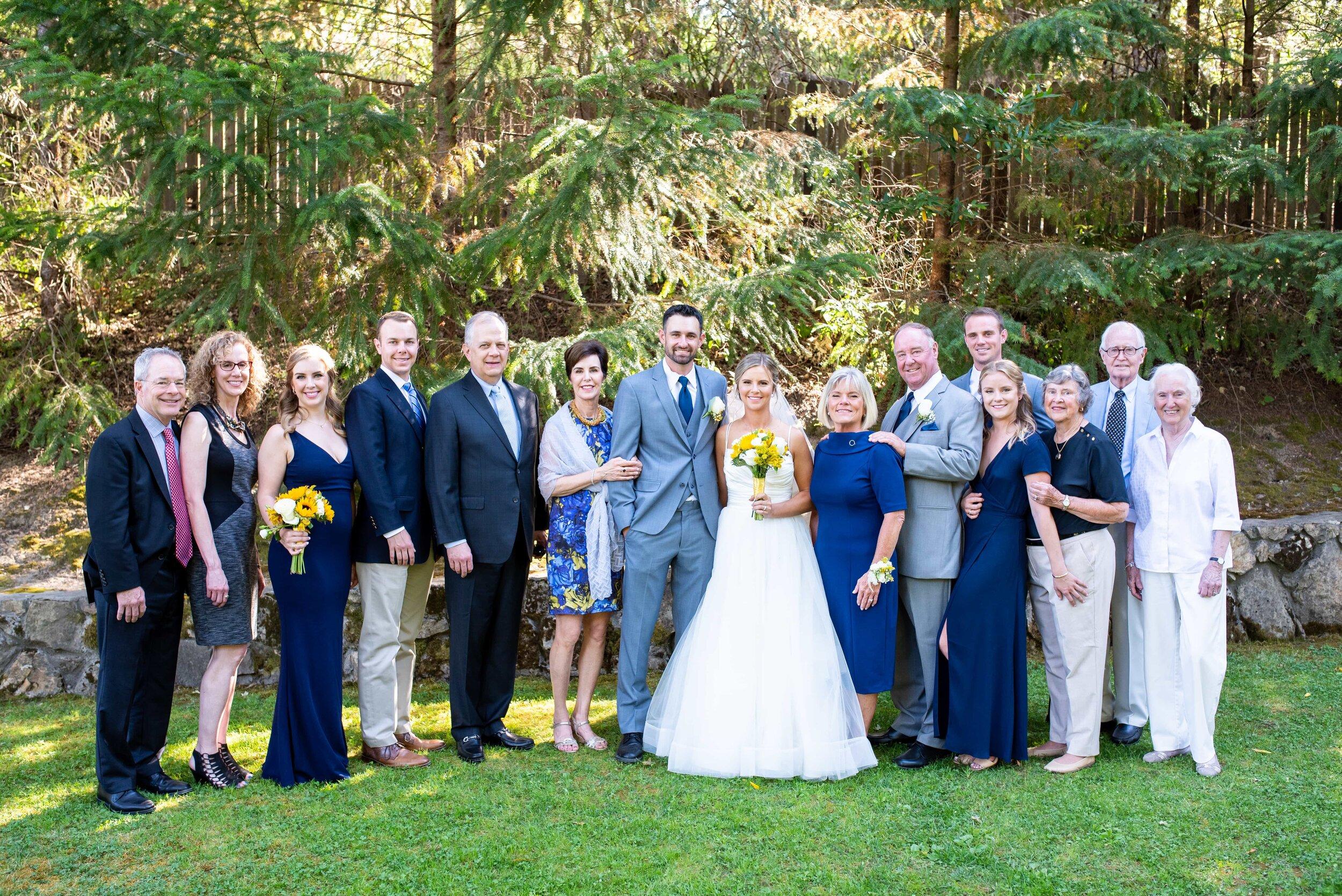 Family portrait following wedding ceremony in Los Gatos