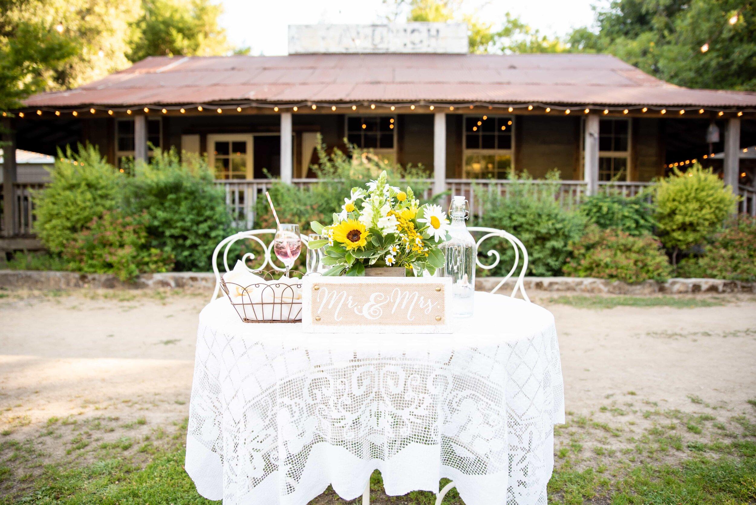 Sweetheart table setup at Radonich Ranch
