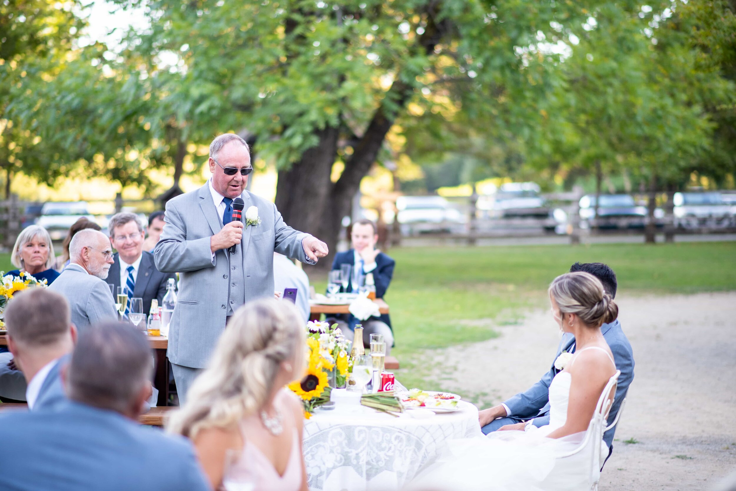 Father of bride giving toast during wedding reception