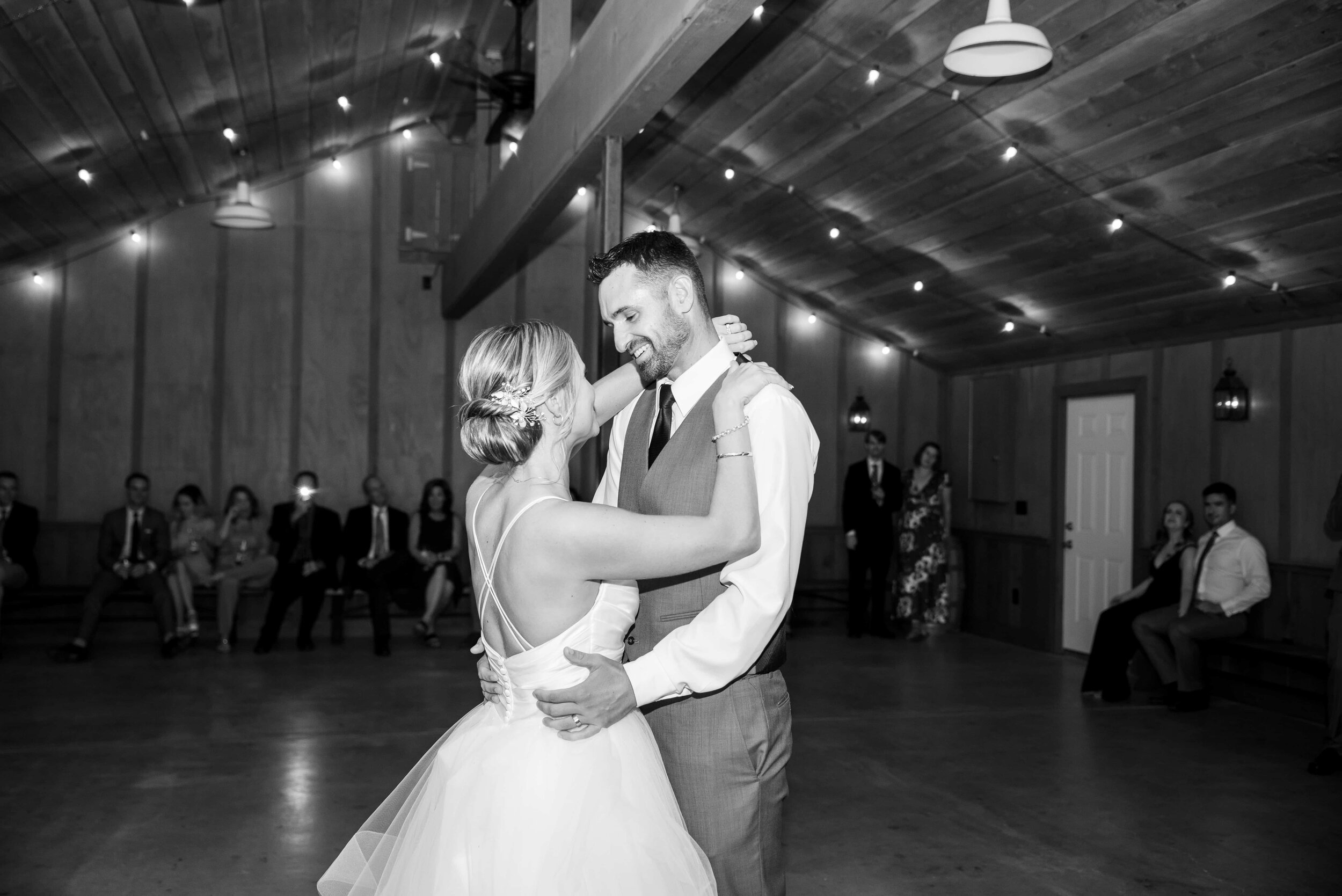 Bride and Groom first dance in barn at Radonich Ranch