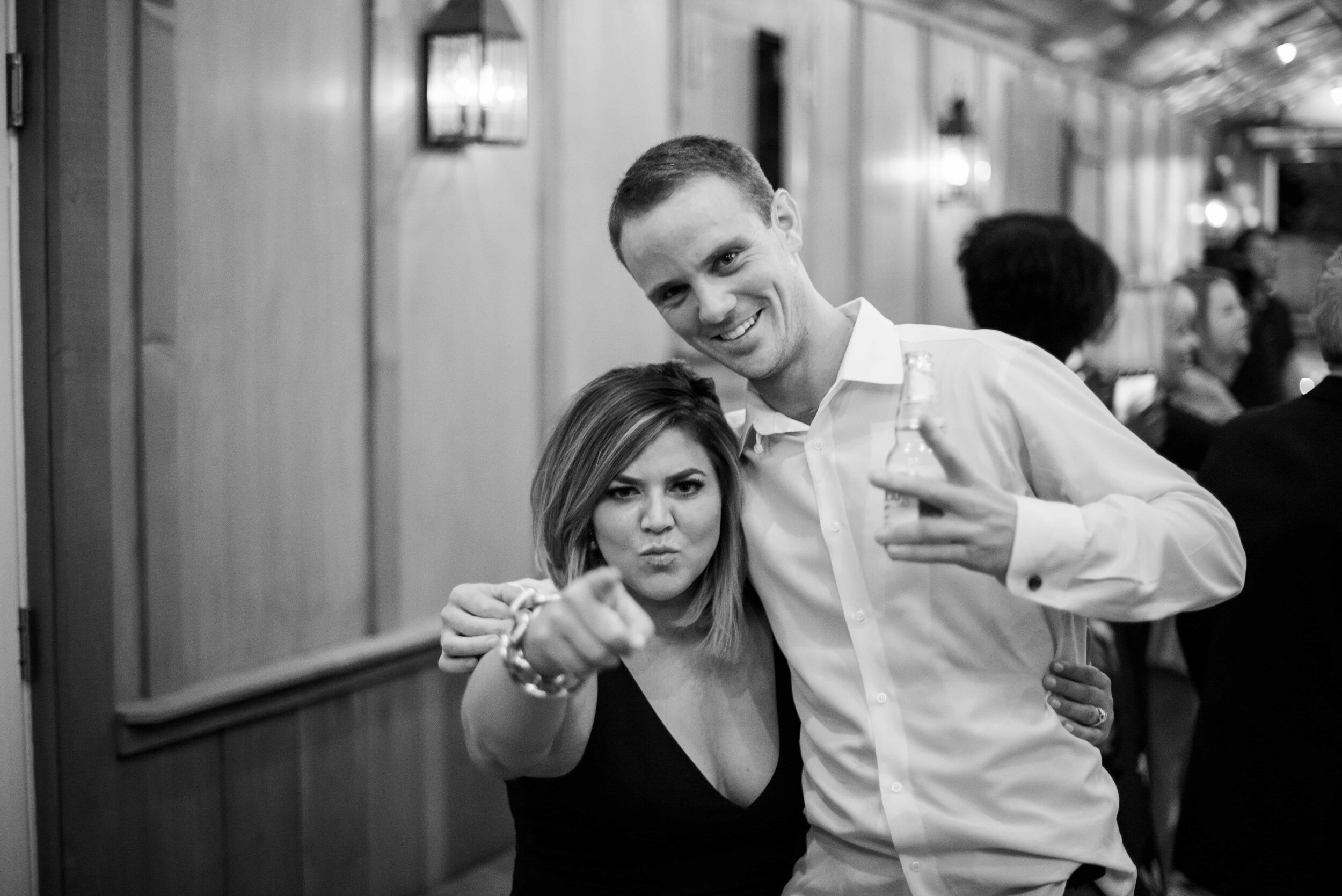 Wedding guests being silly