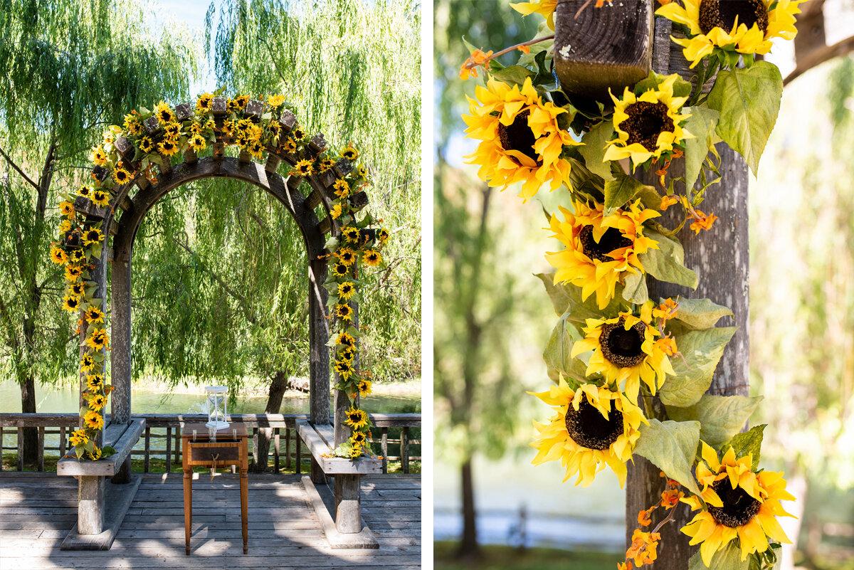 Sunflower covered wedding arch at Radonich Ranch