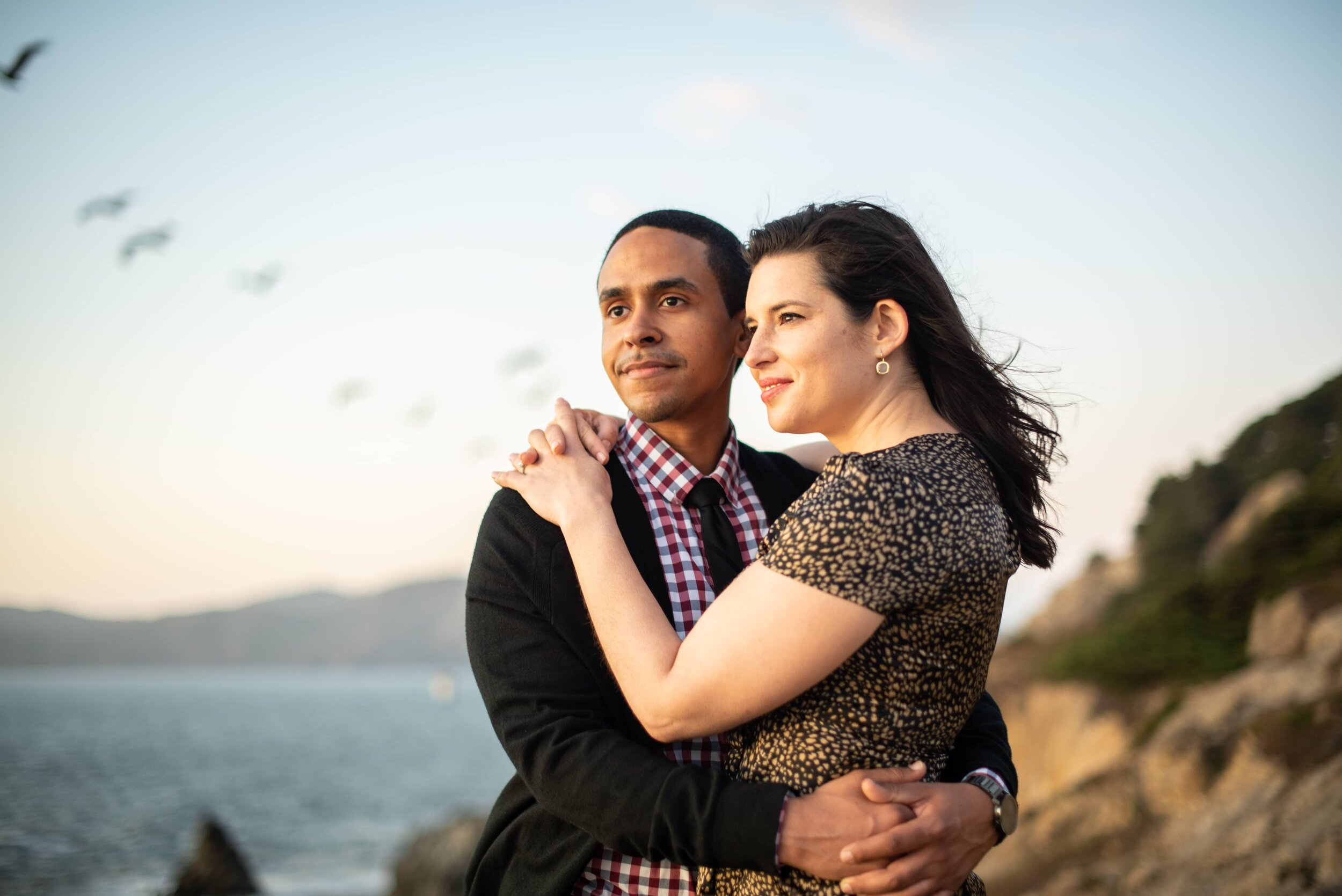 Engaged couple at Lands End in San Francisco