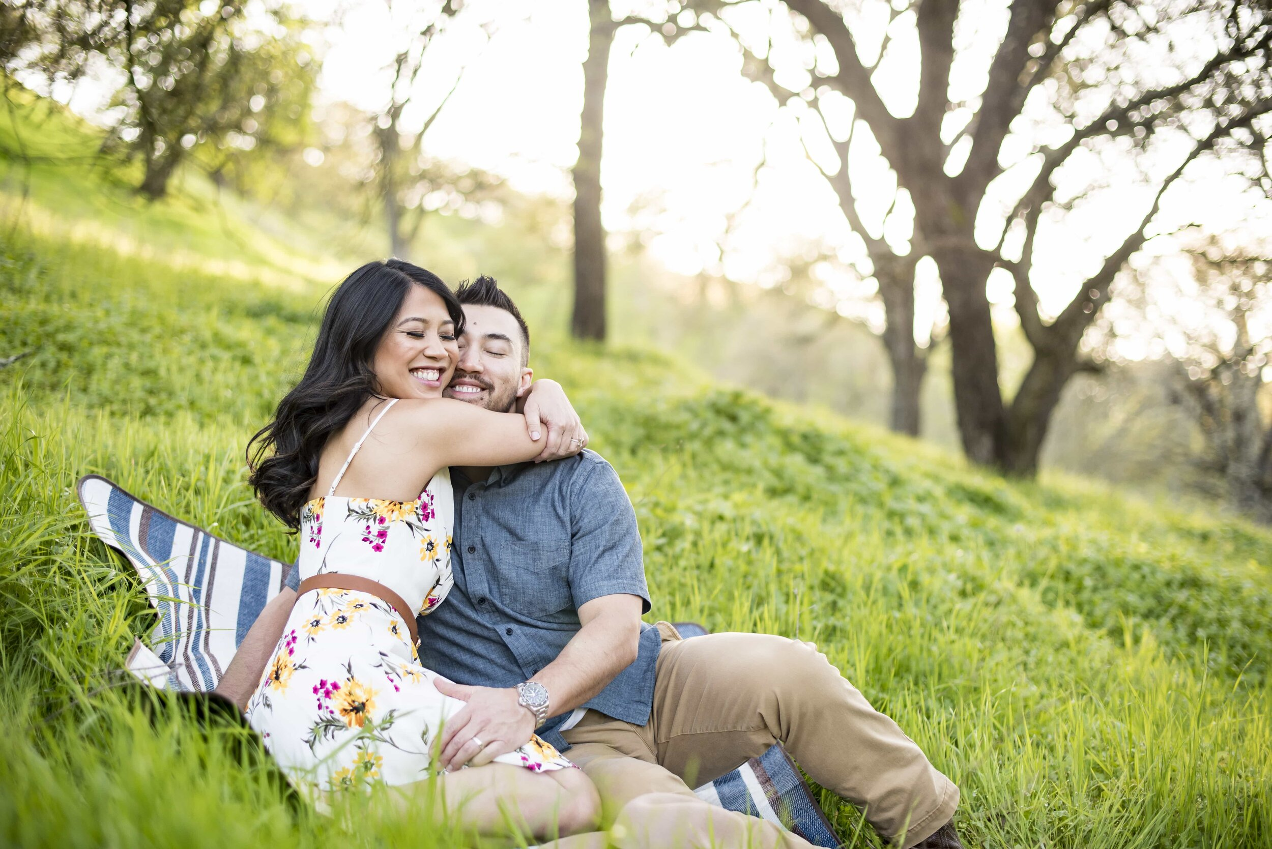 Candid of couple during engagement session in Walnut Creek