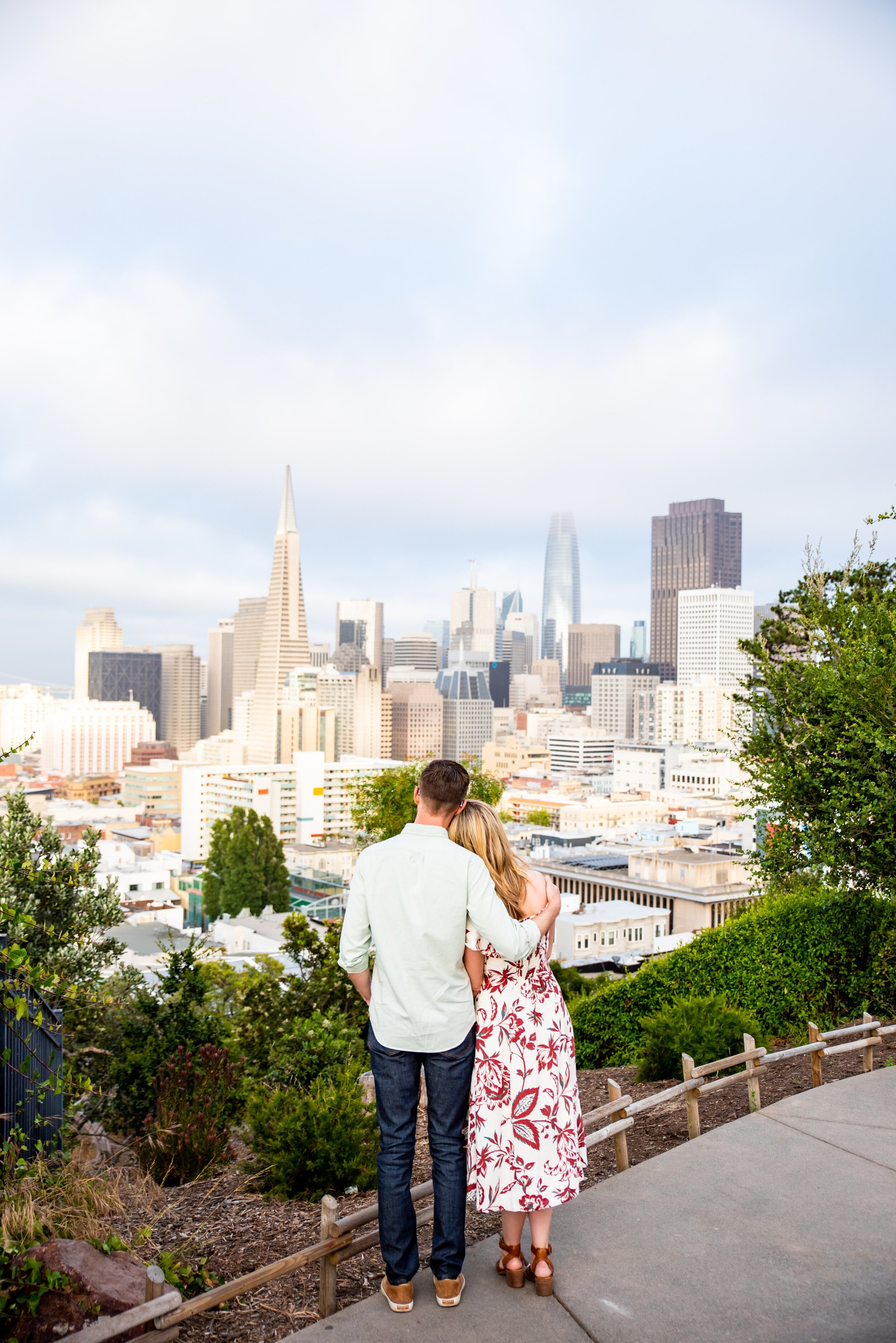 Couple looking at San Francisco skyline