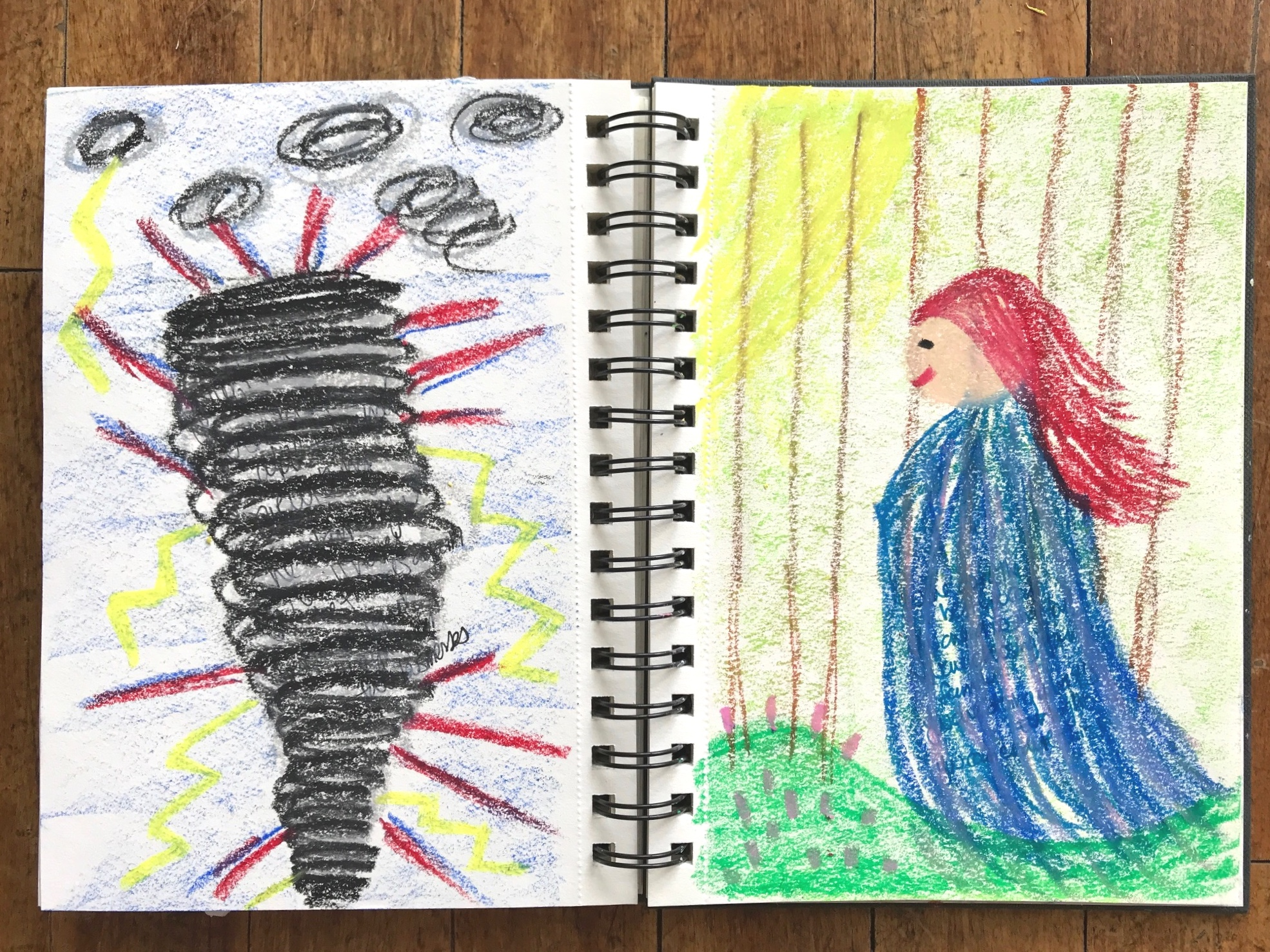 """KAYLA'S PROCESS   I started with my art journal open with two pages exposed. I was drawn to start with writing some of the words my inner critic was shouting at me during the visualization.  I moved onto using oil pastels to fill my page with colour. My inner critic presented as a tornado shouting and spitting things at me. I let the colours lead me.  I did the same process for my inner champion. I wrote some of the words they were whispering to me. My inner champion presented as a gentle """"mother nature"""" kind of woman. Someone who could calm my storm. Someone who was holding me in times of need - gently bringing be back into the bright side of the day.  This exercise is something you can actually do over and over. Every time I do this exercise something different surfaces and I am left with a new epiphany about my inner dialogue. I often get a little brain-reset on how I can speak kinder to myself and how I can reduce some of the noise happening inside my """"storm""""."""