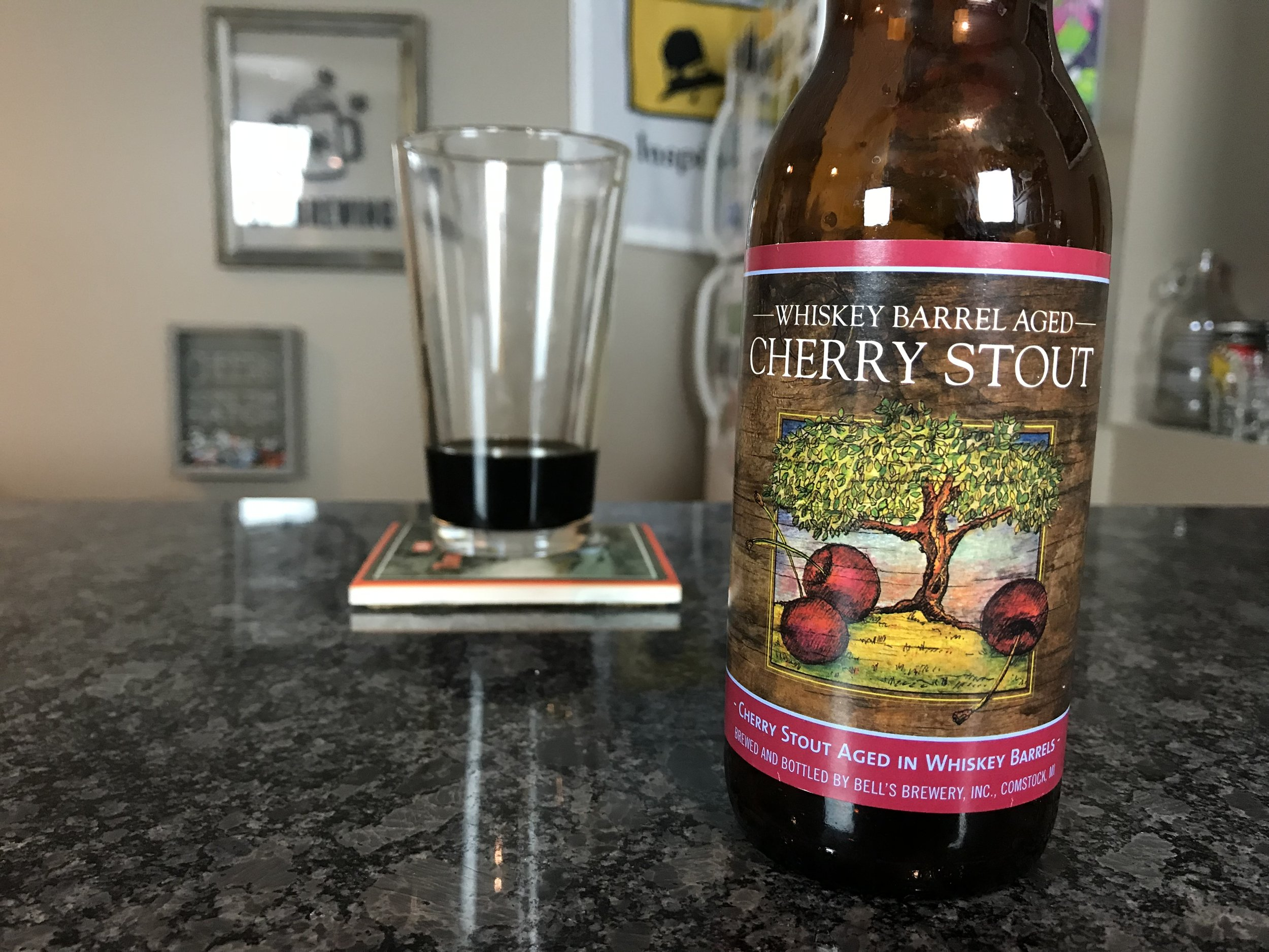 Whiskey Barrel Aged Cherry Stout 9.3% ABV - Want to see the Video review? Click on the image.