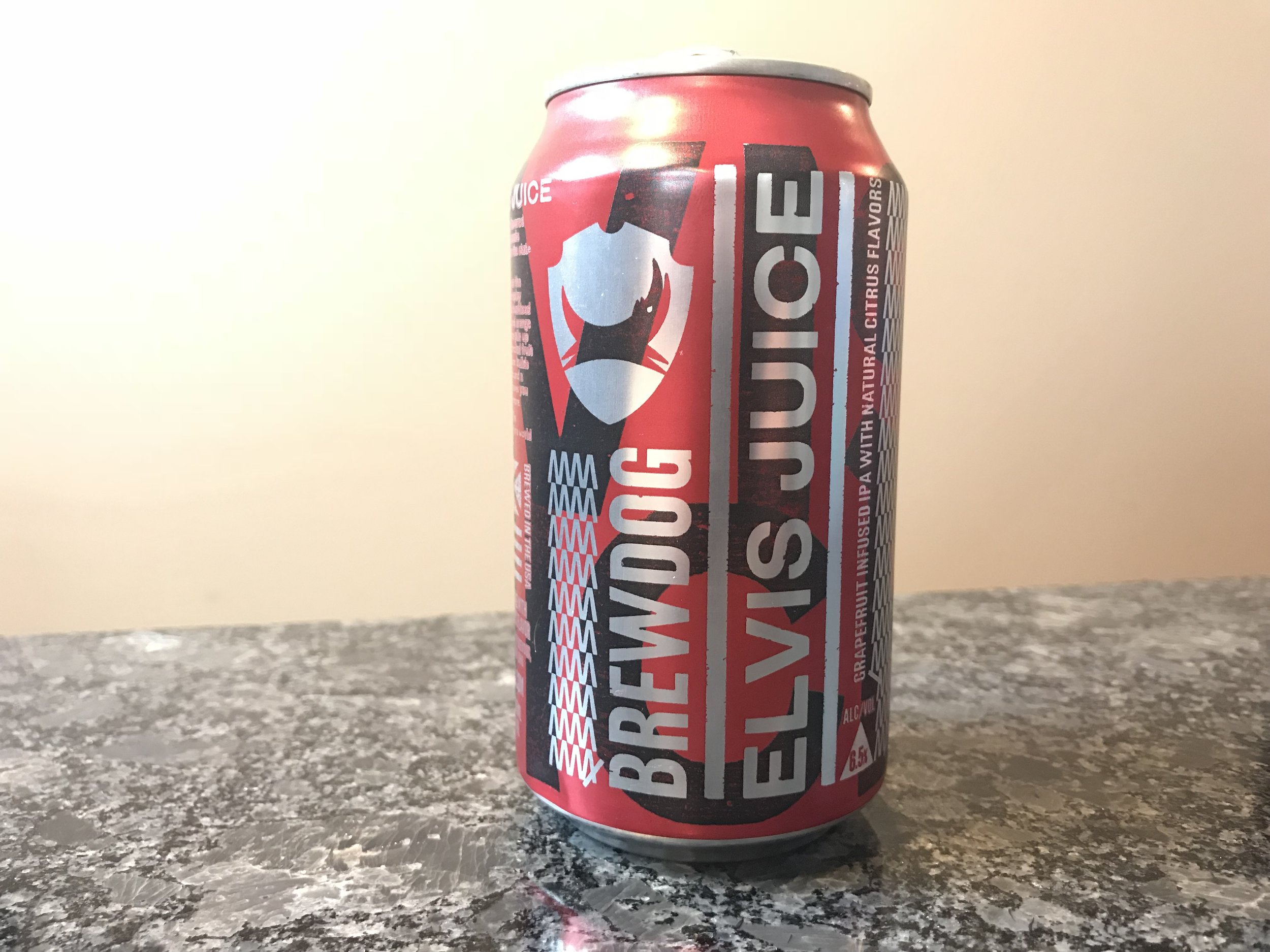 BrewDog Elvis Juice   6.5% ABV 40 IBUs. Elvis Juice is an American IPA. Elvis Juice is on the bitter edge that will push your citrus tolerance to the brink. Click on the image to see my full review of this craft beer.
