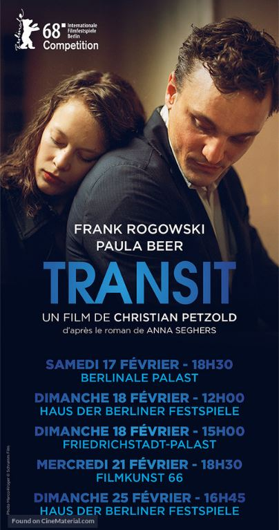 "W A T C H:TransitSet during WWII, or so we think, Transit is a French film that follows the trajectory of a young man displaced from his home country who finds himself in Marseille, dubiously assuming the identity of a novelist in order to escape war-torn France. A thrilling, and at times nearly-farcical, love story ensues. Film critic Bob Mondello in ""All Things Considered"" points out that what's particularly interesting about Transit is that it's actually able to assume a commentary on contemporary culture, even though it's set in the 1940's, by setting the scene as if it's ""the day after tomorrow."" There are glowing television screens, modern ambulances, and a sad, pervasive feeling that not nearly enough has changed in the last eight decades. As Mondelo points out, ""scenes conceived 75 years ago of desperate emigres tangled in bureaucratic red tape look alarmingly like the nightly news.""Transit's limited released was on March 1st, and has been difficult to find in Seattle. Rave reviews from NPR and a slew of other critics have had me searching high and low for a place to watch the film, but! alas! it will be playing at SIFF in late March and early April.   -"