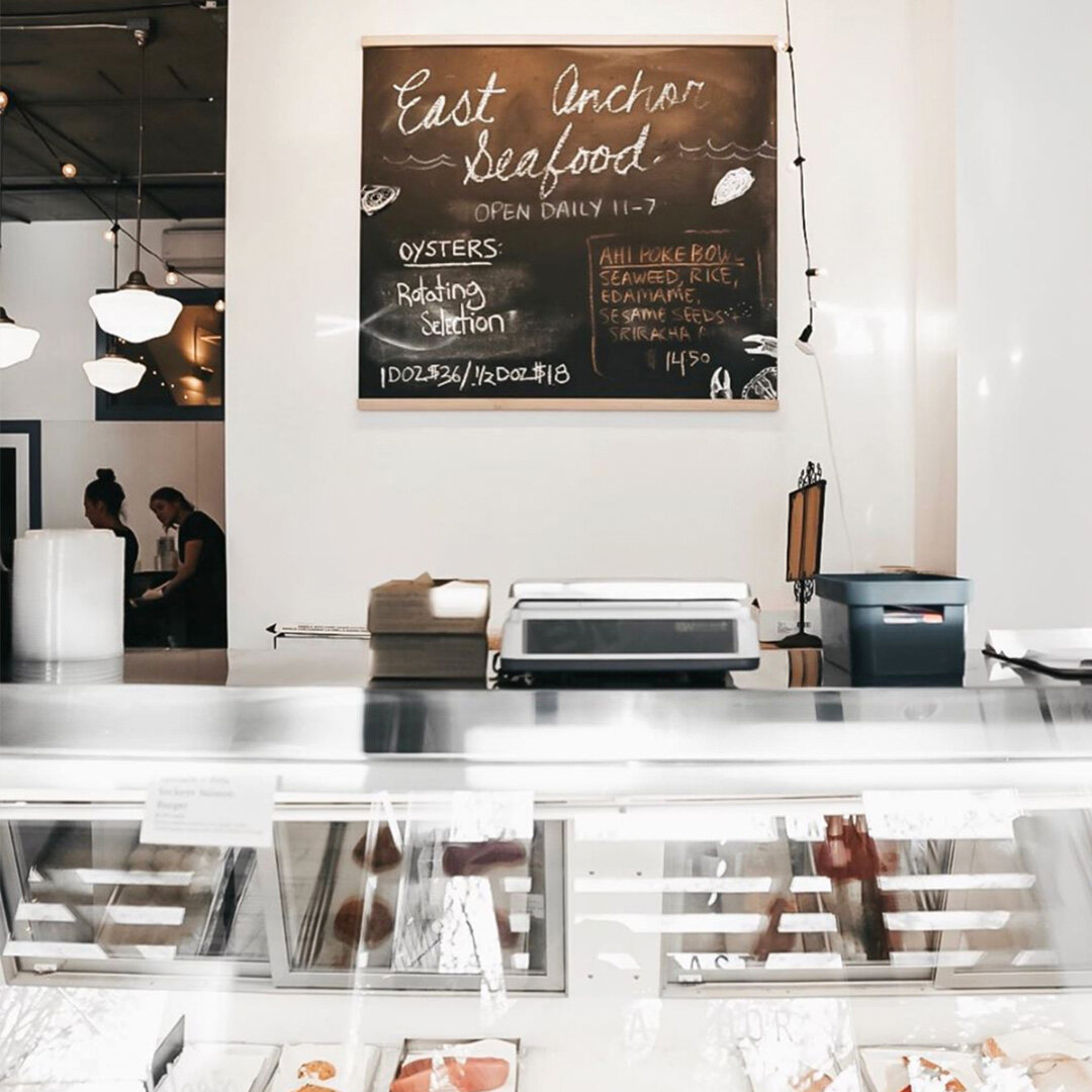 E A S T A N C H O R S E A F O O D - Vendemmia's sibling market sells pristine seafood, but I'm all about the lunch menu, and a plate of oysters and glass of rose by those big front windows.