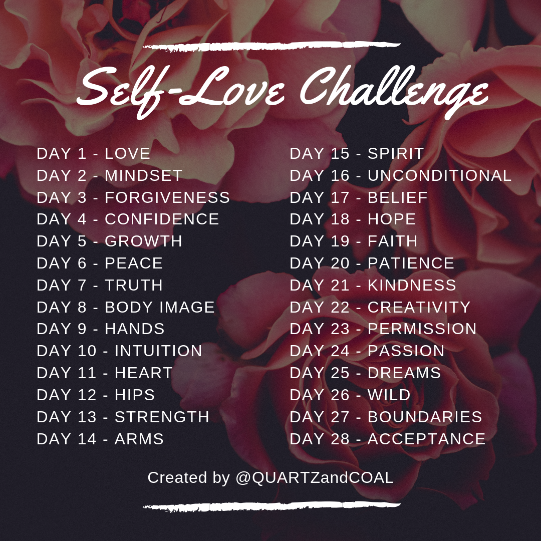 Self-Love Challenge daily themes