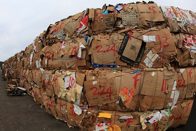 Crushed Cardboard Boxes to be Recycled