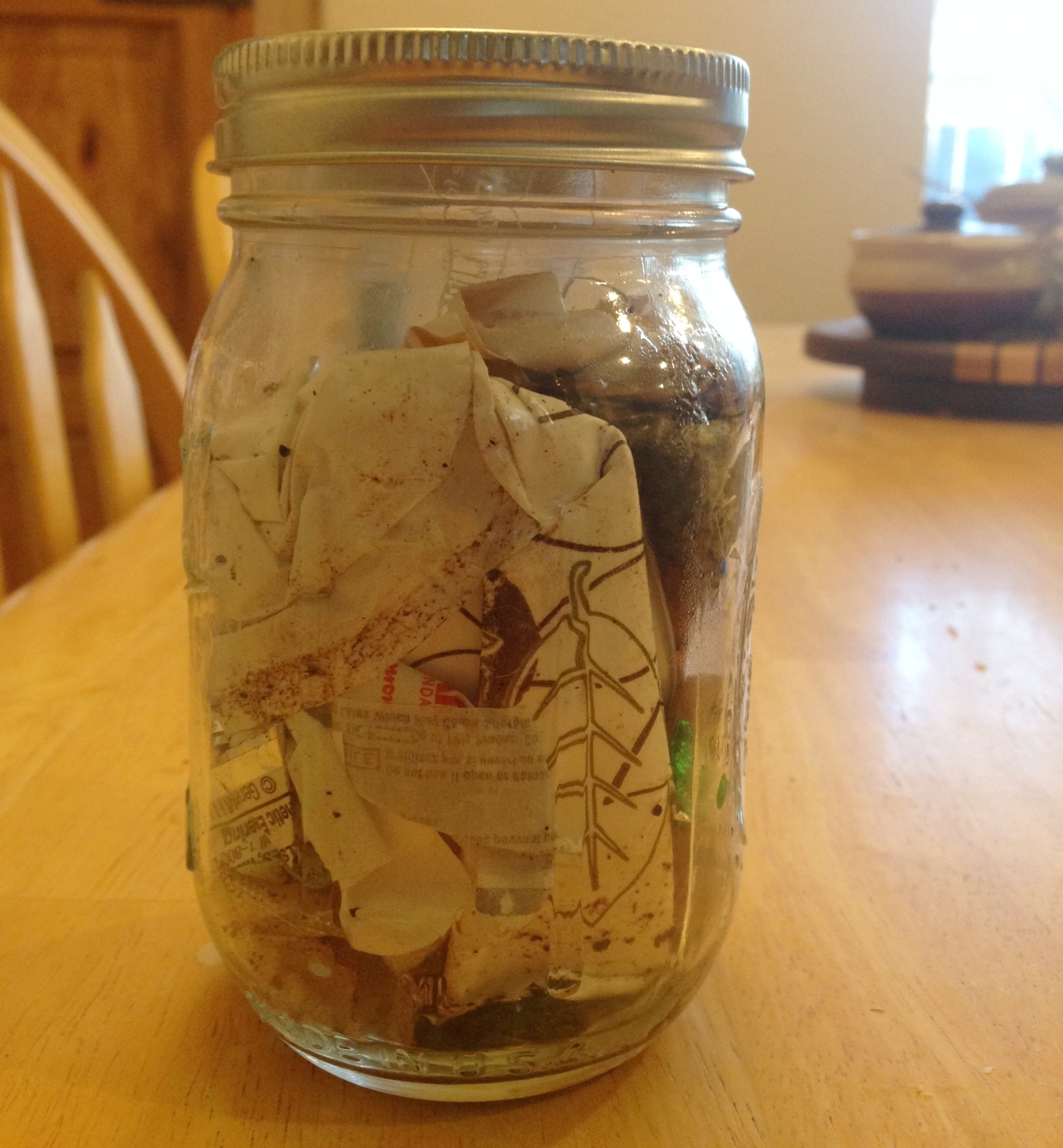 My full mason jar of trash for this week