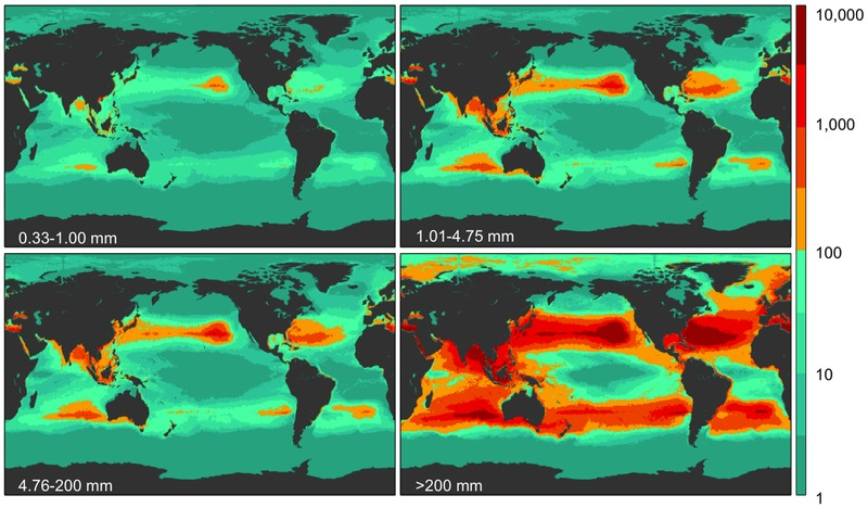 Above: Model results for global plastic weight density in four size classes. ( Eriksen et. al. 2014 )  The numbers in the lower left of each picture indicate the size of plastic being looked at, the bar on the right indicates the projected weight density.Red is a higher plastic weight, blue is lower.