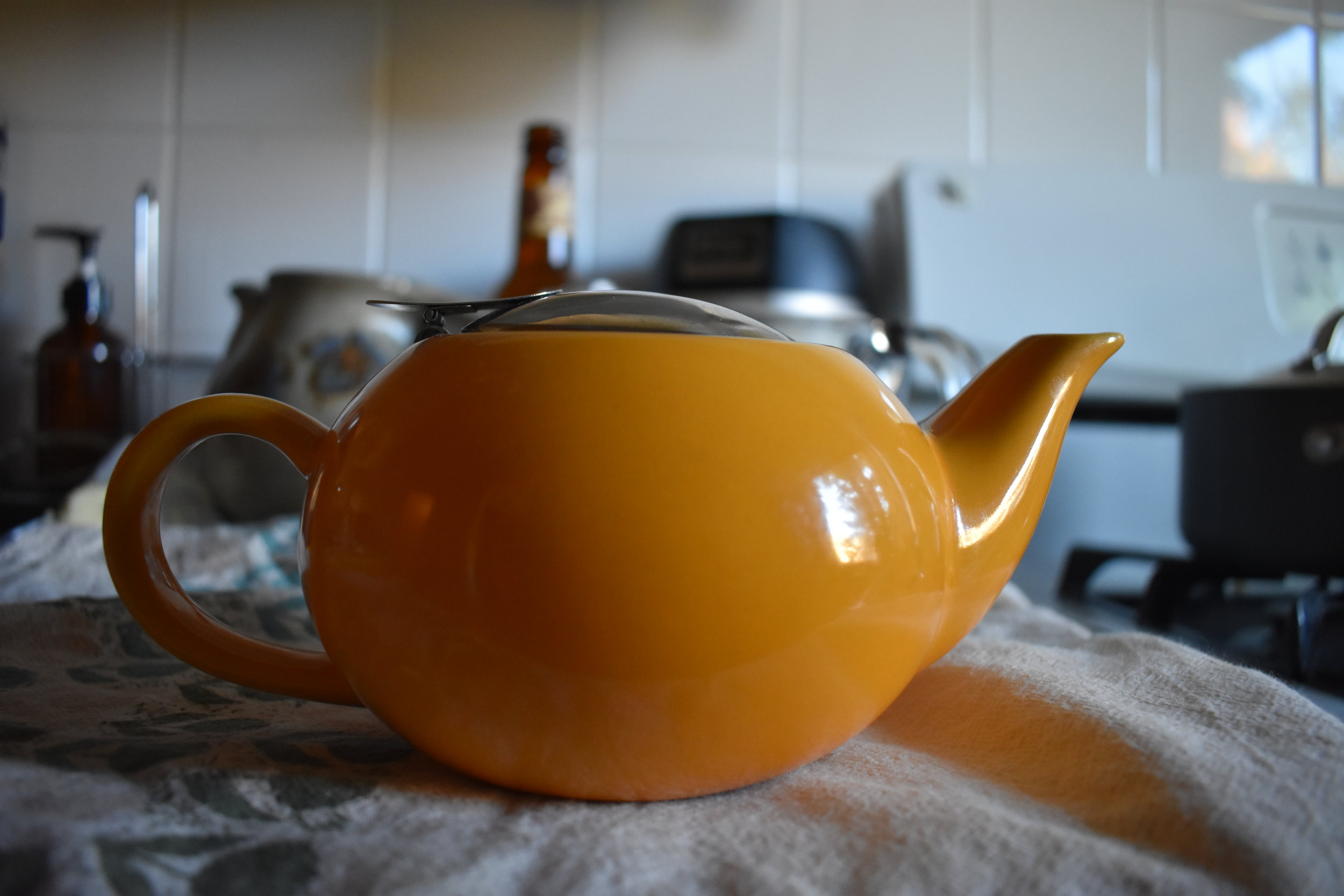 Ceramic Teapot w/ loose leaf net