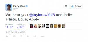 @Cue Twitter Feed to Taylor Swift love Apple