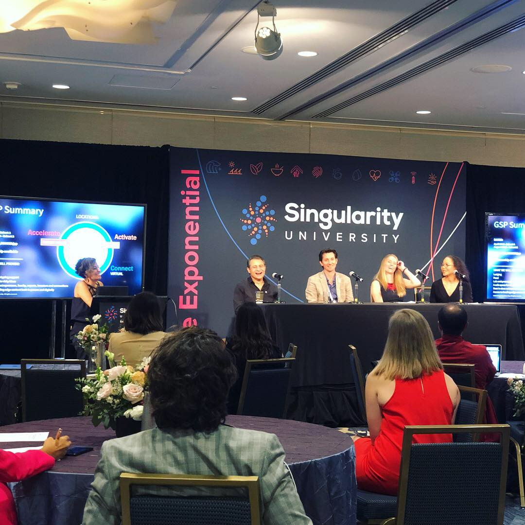 The press conference by Singularity University leaders.