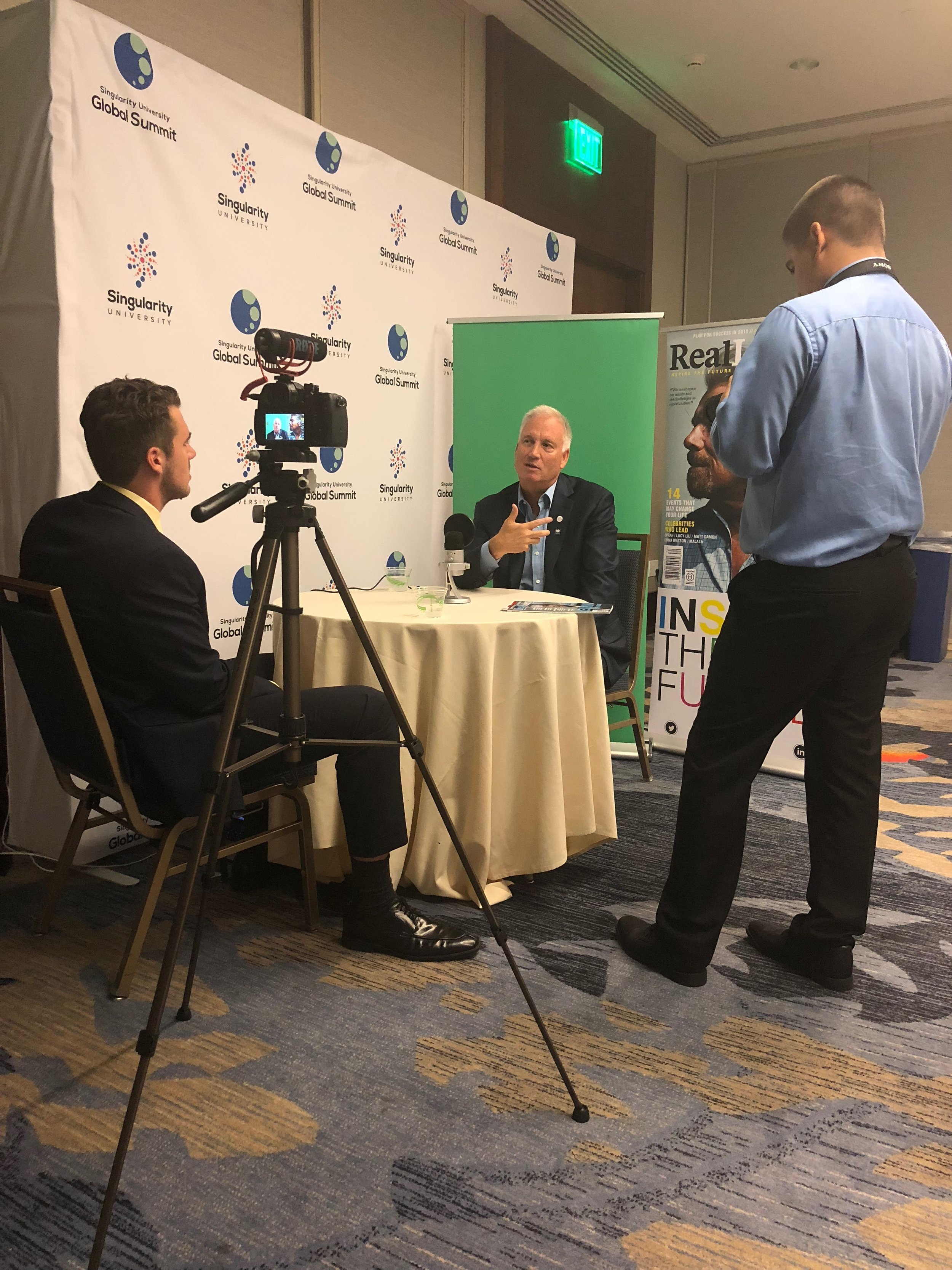 Real Leaders magazine interviewing Erik Anderson, chairman of Singularity University.