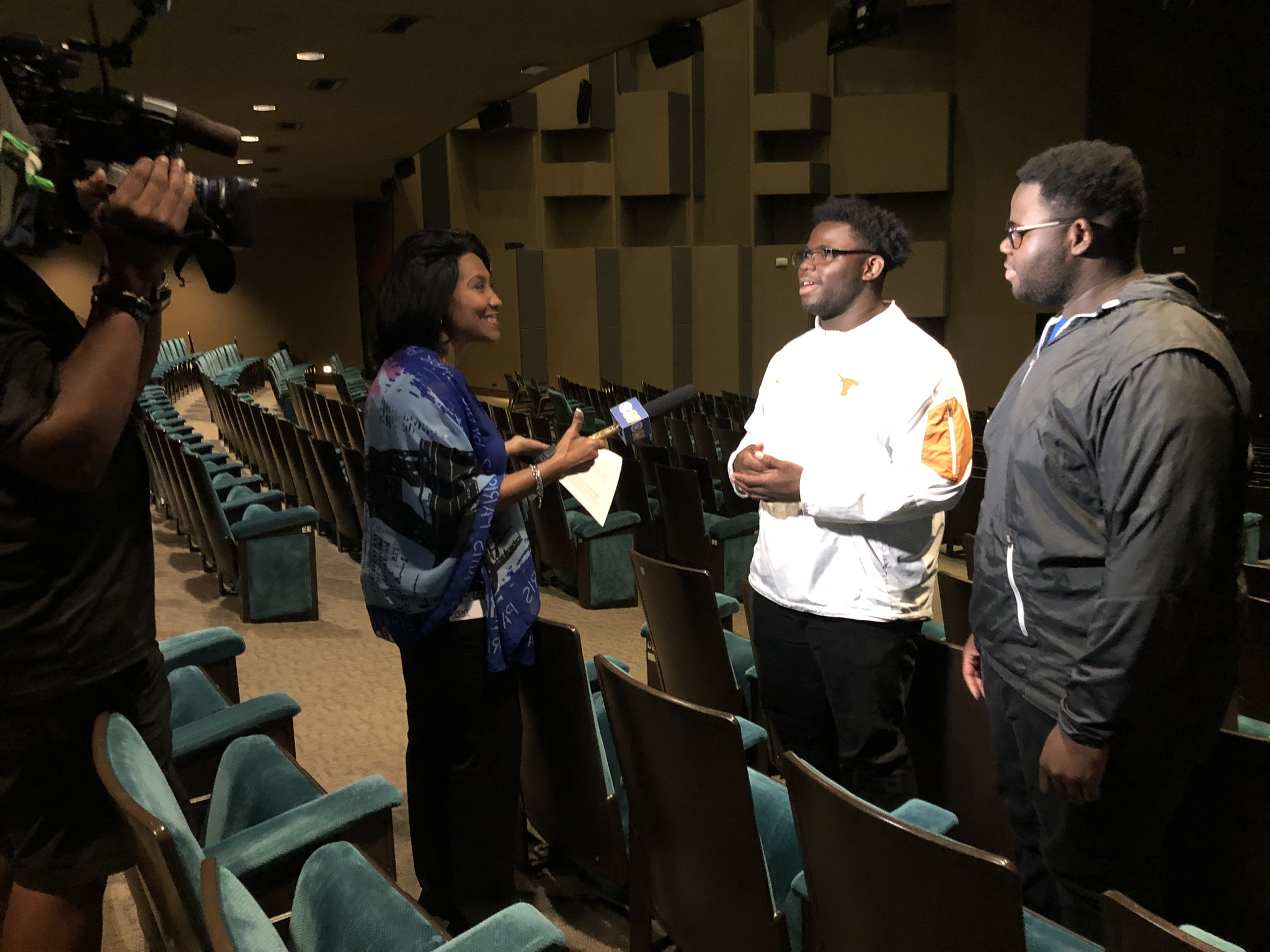KTVT-TV interviews students during the Hamilton Education Program (EduHam).