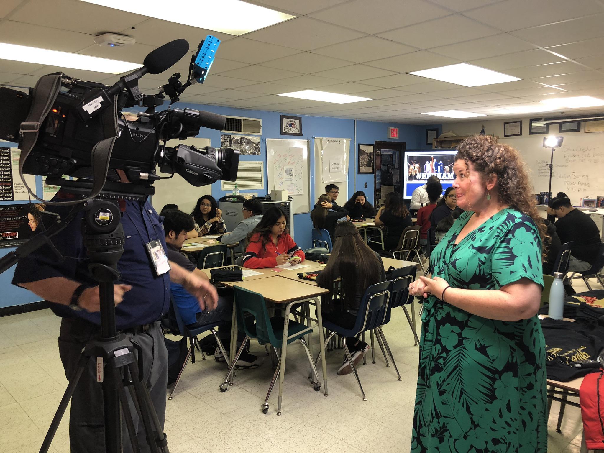 KDFW-TV interviews a teacher at Thomas Jefferson High School for EduHam.