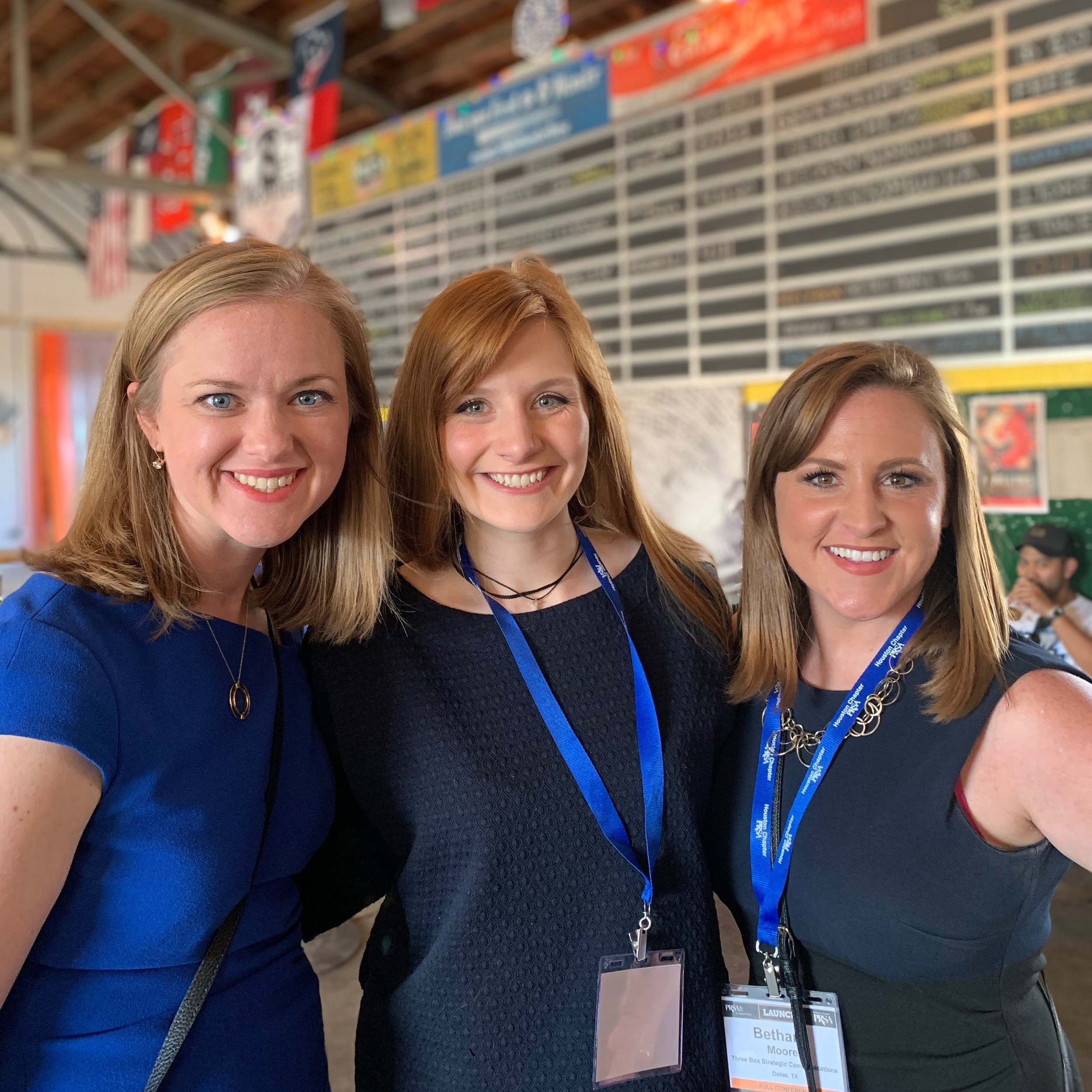 Three Box team members  Amanda Hill ,  Teddi Cliett  and  Bethany Moore  attend the PRSA Southwest District Conference in Houston.