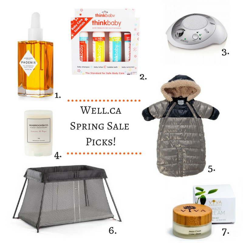 1. Herbivore Botanicals Phoenix Facial Oil  2. thinkbaby Baby Body Care Essentials Kit. 3. HoMedics SoundSpa Portable White Noise Machine. 4. Mabrook & Co. Clean Deodorant Lemon & Rose Travel Size. 5. 7 A.M. Enfant Doudoune Grey & Black. 6. BabyBjorn Pay Yard Light Black. 7. Viva Amaze Cream