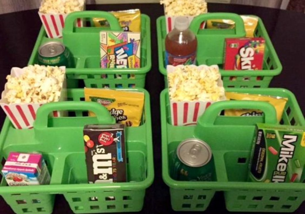 - Use dollar store shower caddies to organize treats and drinks for a movie night.