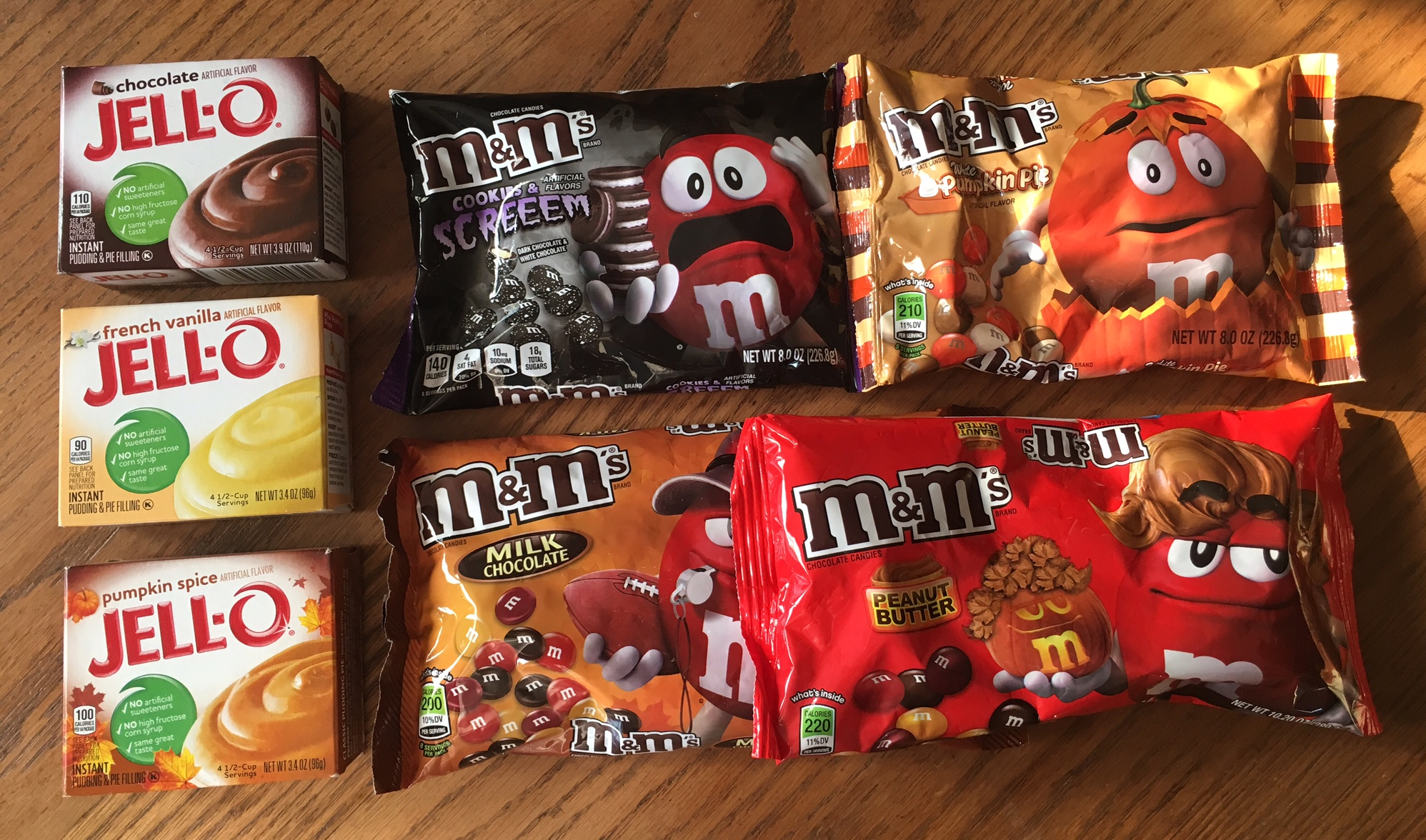 Amazing Fall options! Going to try the Pumpkin Spice Jello mix with White Chocolate Pumpkin M&Ms next! One thing to watch for - some packages of M&Ms are smaller than others. Buy two then to make sure the cookies have lots of M&M color and flavor, and save the rest for nibbling!