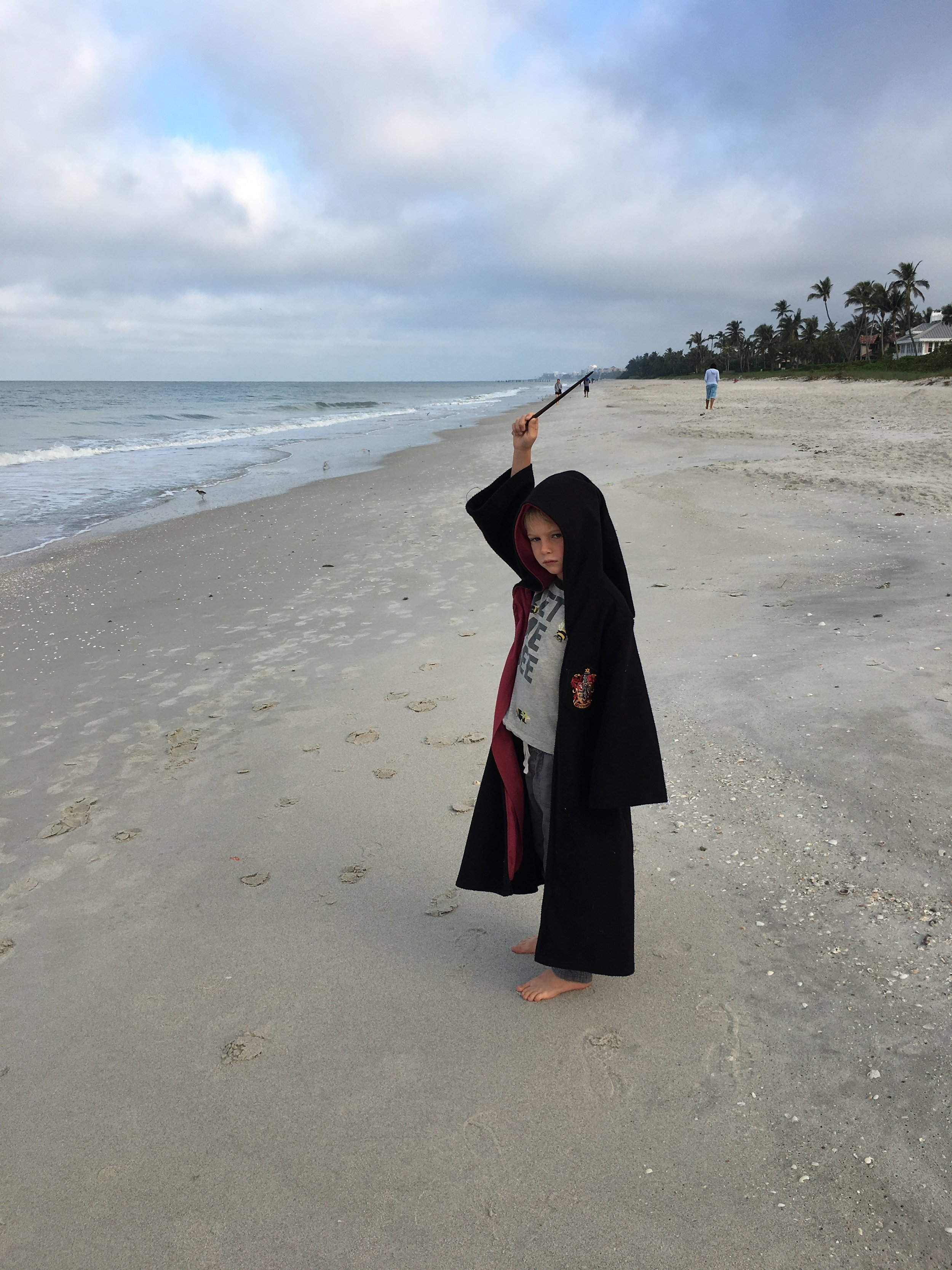 Joah acting out his characters on the beach.